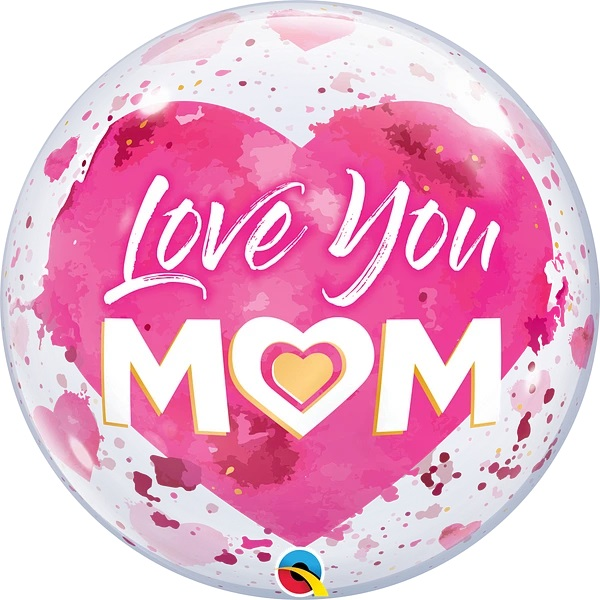 """22"""" Single Bubble Love You Mom pink"""