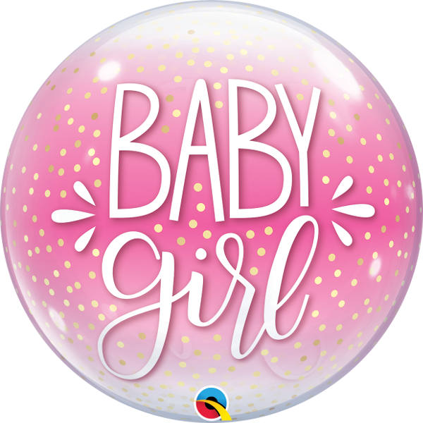 "22"" Single Bubble baby Girl Pink & Confetti Dots"