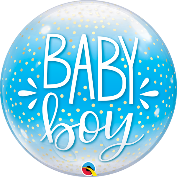 "22"" Single Bubble Baby Boy Blue & Confetti Dots"